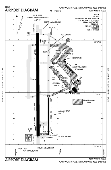 Carswell Field Airport (Fort Worth, TX): KNFW Airport Diagram
