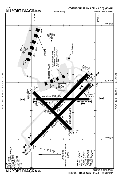 Corpus Christi Naval Air Station/Truax Field Airport (Corpus Christi, TX): KNGP Airport Diagram