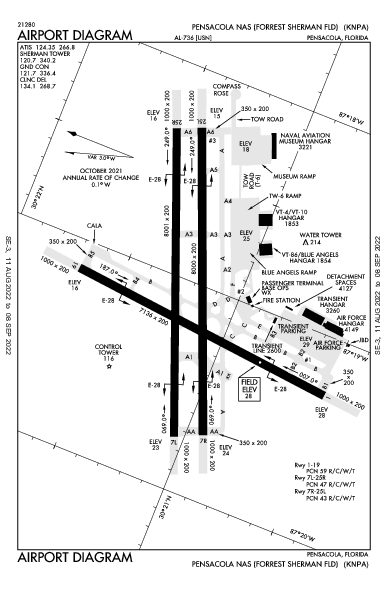 Sherman Field Airport (Pensacola, FL): KNPA Airport Diagram