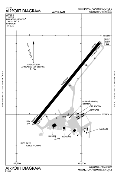 Millington Rgnl Jetport Airport (Millington, TN): KNQA Airport Diagram