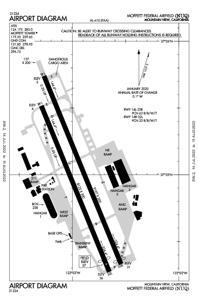 Moffett Federal Afld Airport (Mountain View, CA): KNUQ Airport Diagram