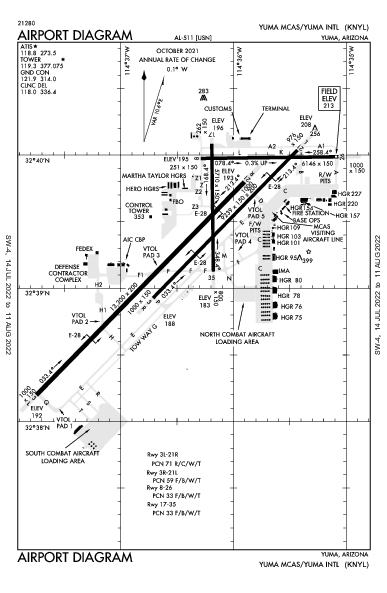 Yuma Intl Airport (Юма, Аризона): KNYL Airport Diagram