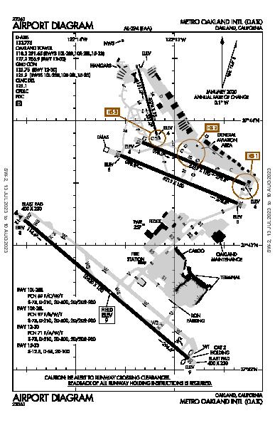 Metropolitan Oakland Intl Airport (Oakland, CA): KOAK Airport Diagram
