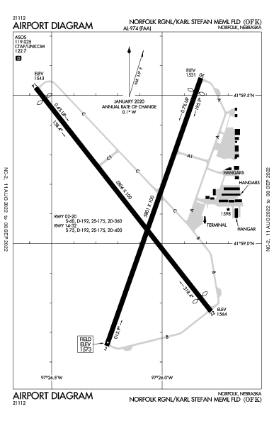 Norfolk Rgnl/Karl Stefan Memorial Fld Airport (Norfolk, NE): KOFK Airport Diagram