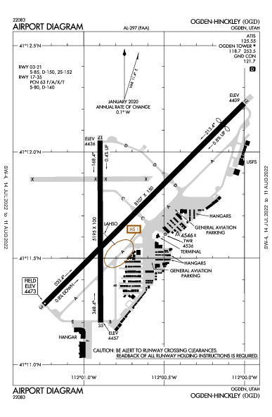 Ogden-Hinckley Airport (Ogden, UT): KOGD Airport Diagram