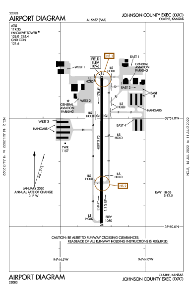 Johnson County Executive Airport (Olathe, KS): KOJC Airport Diagram