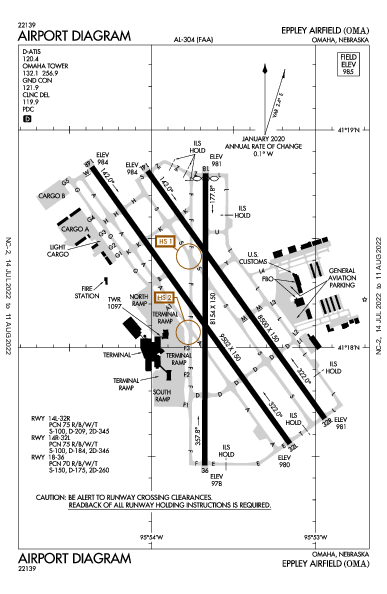 Eppley Airfield Airport (Omaha, NE): KOMA Airport Diagram