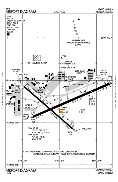 Orlando Executive Airport (Orlando, FL): KORL Airport Diagram