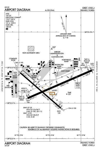 Executive Airport (Орландо, Флорида): KORL Airport Diagram