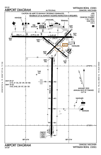 Wittman Rgnl Airport (Oshkosh, WI): KOSH Airport Diagram