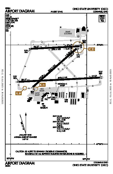 Ohio State University Airport (Columbus, OH): KOSU Airport Diagram