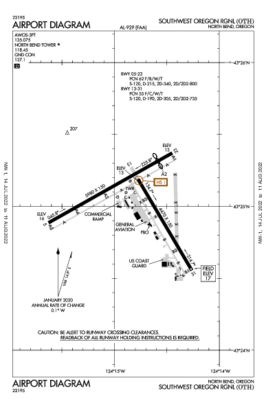 Southwest Oregon Rgnl Airport (North Bend, OR): KOTH Airport Diagram