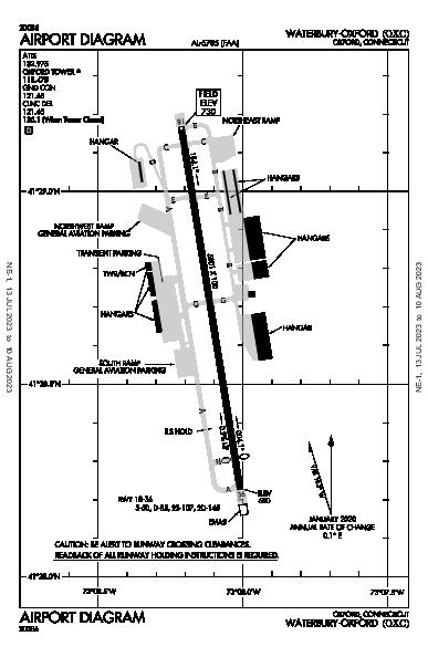 Waterbury-Oxford Airport (Oxford, CT): KOXC Airport Diagram