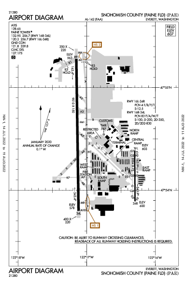 Snohomish County Airport (Everett, WA): KPAE Airport Diagram