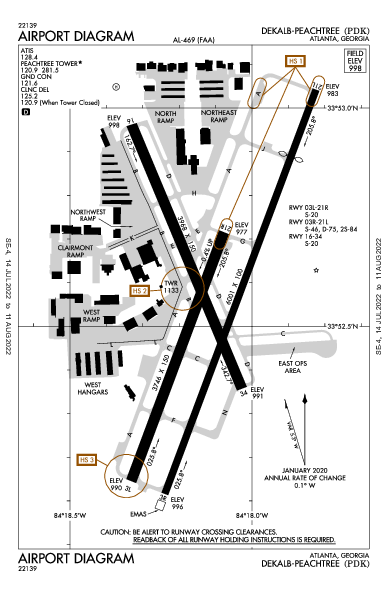 Dekalb-Peachtree Airport (Atlanta, GA): KPDK Airport Diagram