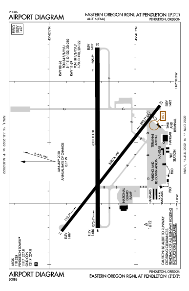 Eastern Oregon Rgnl Airport (Pendleton, OR): KPDT Airport Diagram