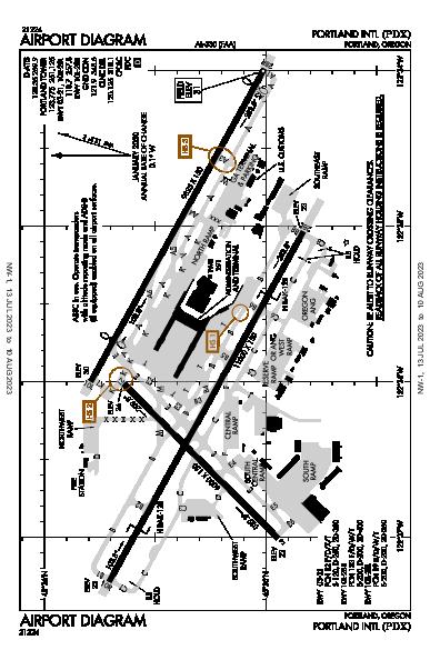 ポートランド国際空港 Airport (Portland, OR): KPDX Airport Diagram