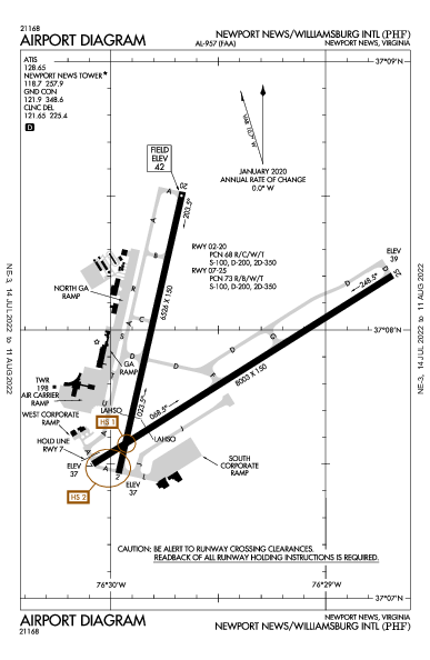 Williamsburg Intl Airport (Newport News, VA): KPHF Airport Diagram