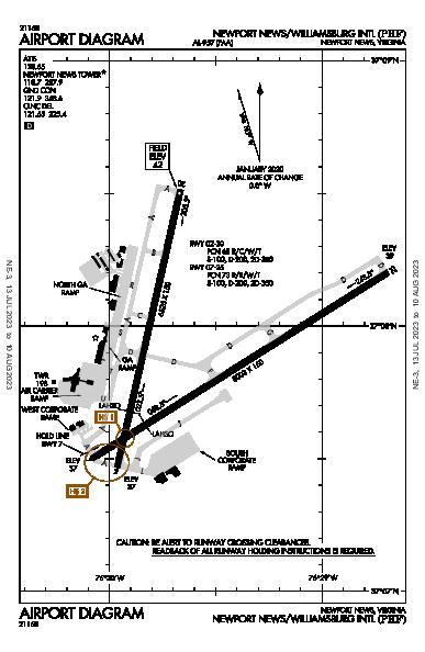 Williamsburg Intl Airport (Newport News, VA): KPHF Airport Diagram