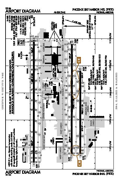鳳凰城天港國際機場 Airport (Phoenix, AZ): KPHX Airport Diagram