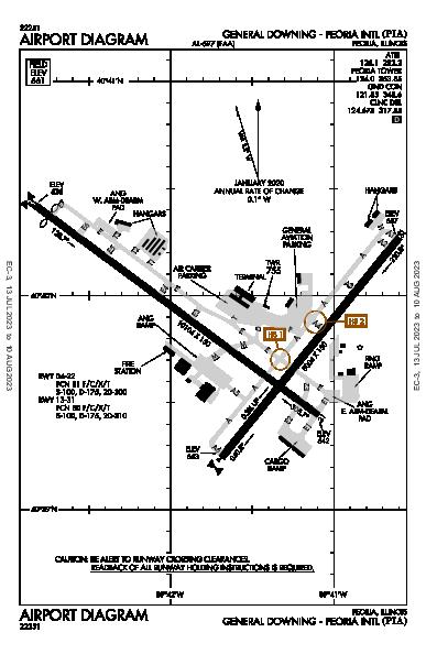 General Downing - Peoria Intl Airport (Peoria, IL): KPIA Airport Diagram