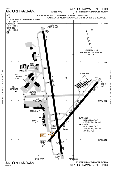 Clearwater Intl Airport (St Petersburg-Clearwater, FL): KPIE Airport Diagram