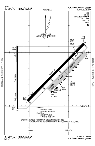Pocatello Rgnl Airport (Pocatello, ID): KPIH Airport Diagram