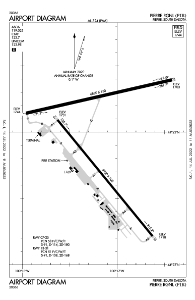 Pierre Rgnl Airport (Pierre, SD): KPIR Airport Diagram