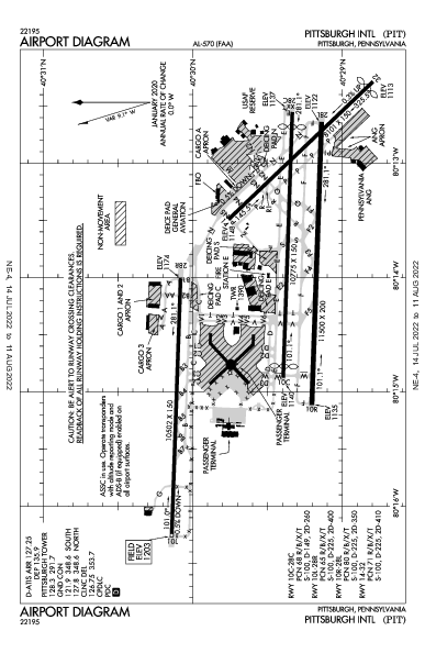Int'l di Pittsburgh Airport (Pittsburgh, PA): KPIT Airport Diagram