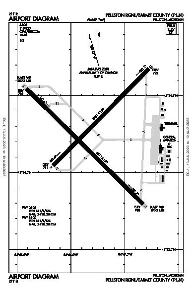 Pellston Rgnl Airport (Pellston, MI): KPLN Airport Diagram