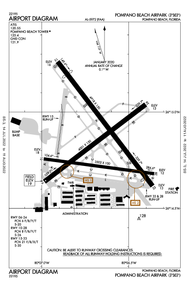 Pompano Beach Airpark Airport (Pompano Beach, FL): KPMP Airport Diagram