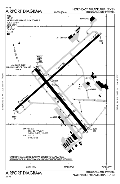 Northeast Philadelphia Airport (Philadelphie): KPNE Airport Diagram