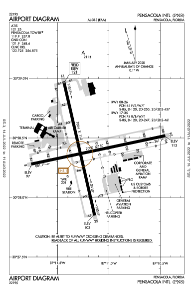 Pensacola Intl Airport (Pensacola, FL): KPNS Airport Diagram