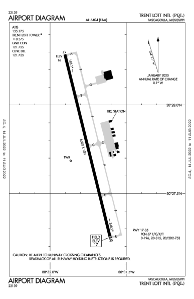 Trent Lott Intl Airport (Pascagoula, MS): KPQL Airport Diagram