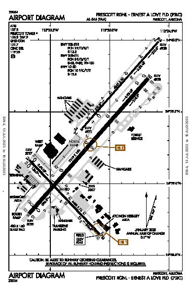 Prescott Rgnl - Ernest a Love Fld Airport (Prescott, AZ): KPRC Airport Diagram