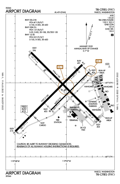 Tri-Cities Airport (Pasco, WA): KPSC Airport Diagram