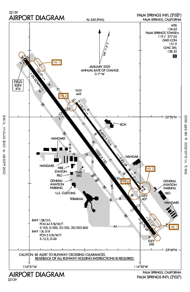 棕櫚泉國際機場 Airport (Palm Springs, CA): KPSP Airport Diagram