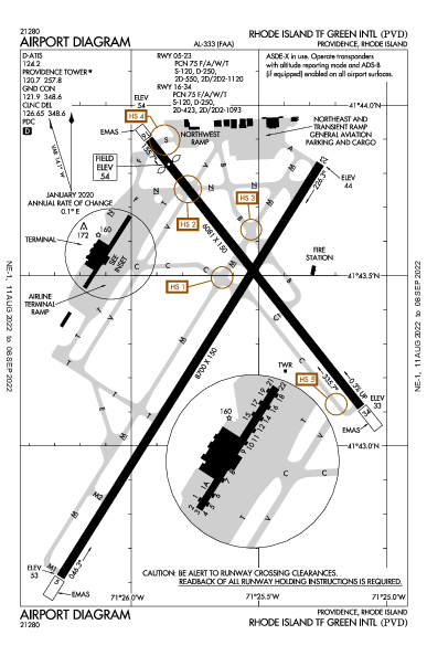 Green State Airport (Providence, RI): KPVD Airport Diagram