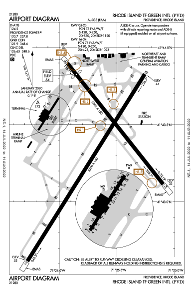 T. F. Green International Airport (Providence, RI): KPVD Airport Diagram