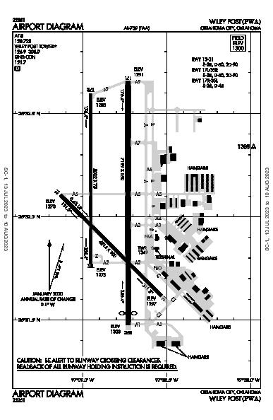 Wiley Post Airport (Oklahoma City, OK): KPWA Airport Diagram