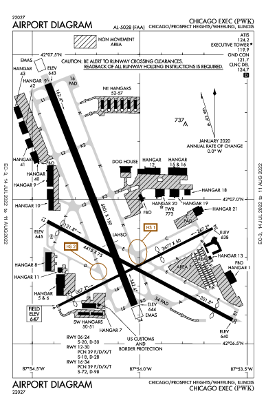 Chicago Executive Airport (Chicago/Prospect Heights/Wheeling, IL): KPWK Airport Diagram