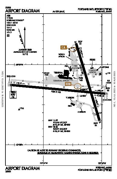 Portland Intl Jetport Airport (Portland, ME): KPWM Airport Diagram