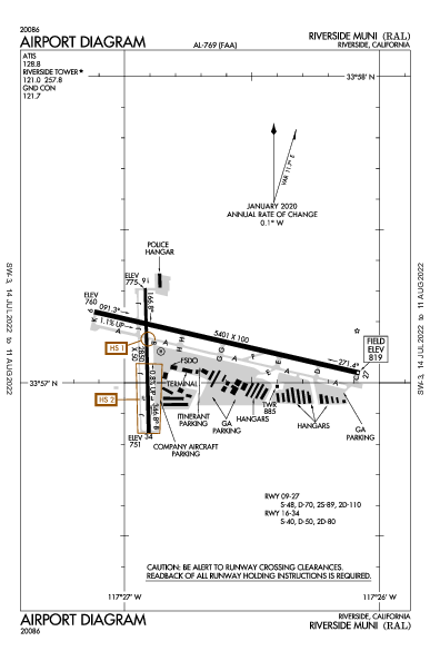 Riverside Muni Airport (Riverside, CA): KRAL Airport Diagram