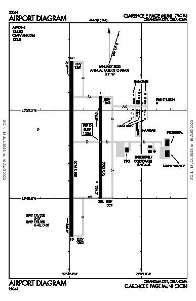 Clarence E Page Muni Airport (Oklahoma City, OK): KRCE Airport Diagram