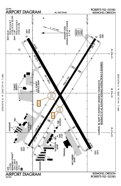 Roberts Field Airport (Redmond, OR): KRDM Airport Diagram