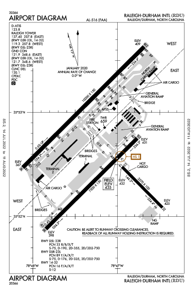 萊利都林國際機場 Airport (罗利): KRDU Airport Diagram