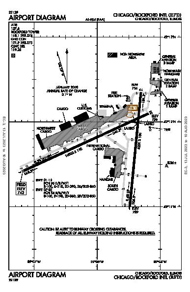 Chicago/Rockford Intl Airport (Chicago/Rockford, IL): KRFD Airport Diagram