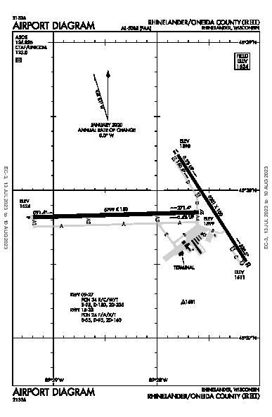 Rhinelander-Oneida County Airport (Rhinelander, WI): KRHI Airport Diagram