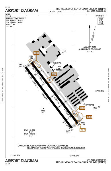 Santa Clara County Airport (San Jose, CA): KRHV Airport Diagram