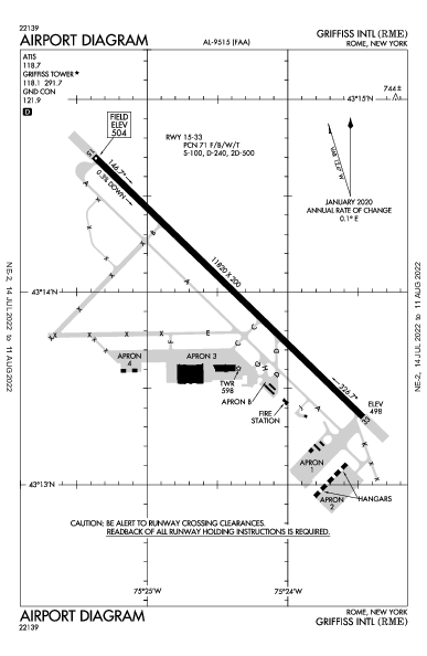 Rome Griffiss Airport (Rome, NY): KRME Airport Diagram